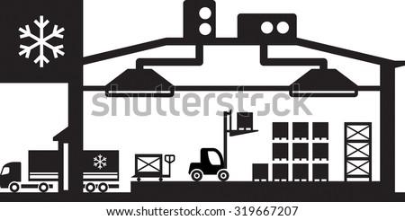 Industrial cold store scene - vector illustration - stock vector