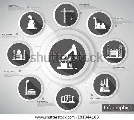 Industrial Concept,Infographics,black version,vector - stock vector