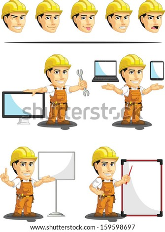 Industrial Construction Worker Customizable Mascot 16  - stock vector