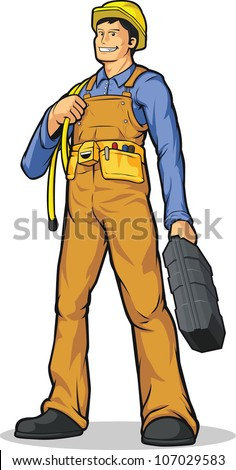 Industrial Construction Worker with Rope & Tool Box - stock vector