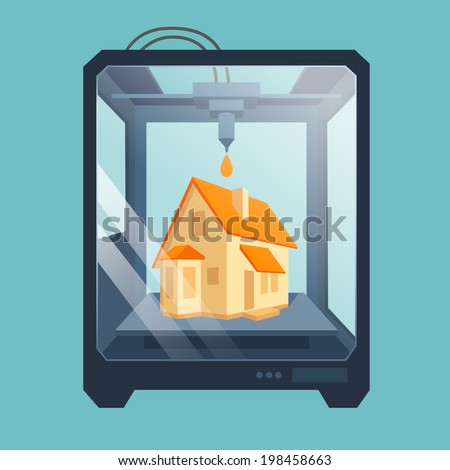 Industrial 3D printer prints a house concept. File contains transparent objects. 10 EPS - stock vector