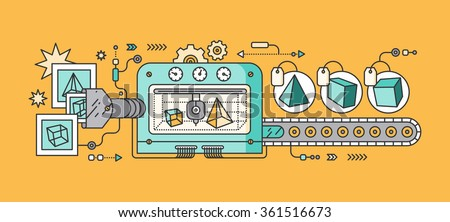 Industrial 3D printer prints. Innovative fabrication process background. 3D printer and sample objects. 3D printer icons. Manufacturing 3D printer. Monitor showing 3d program. 3d conveyor. 3d vector - stock vector