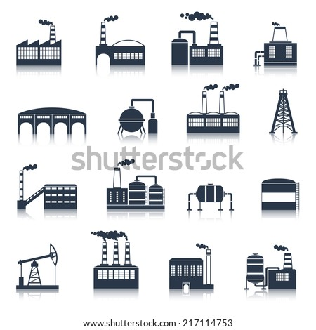 Industrial electricity plants building icons black set with smoking pipes isolated vector illustration - stock vector