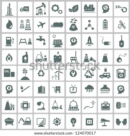 Industrial,energy,building and natural icon set,vector - stock vector