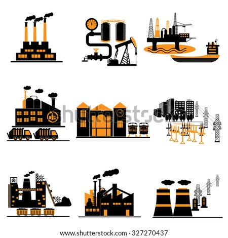 Industrial energy, electricity power icons - stock vector