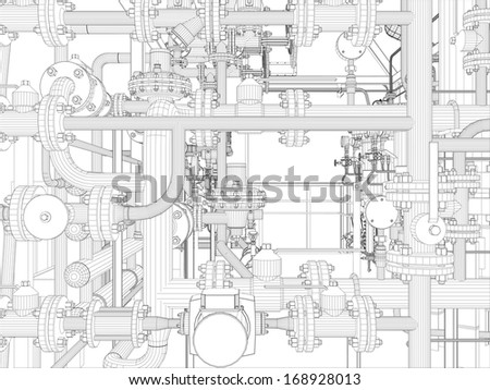 Industrial equipment. Wire-frame. Vector EPS10 format. Vector rendering of 3d - stock vector