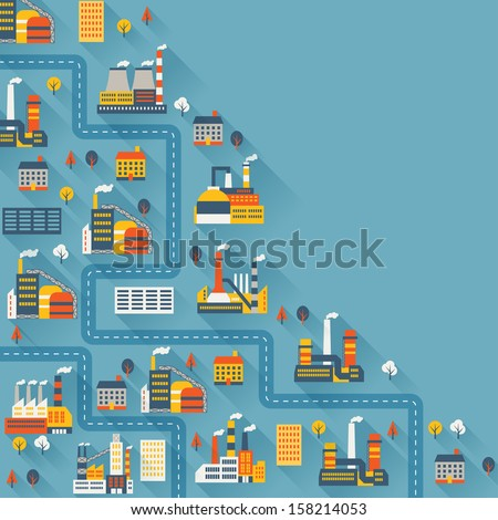 Industrial factory buildings background. - stock vector