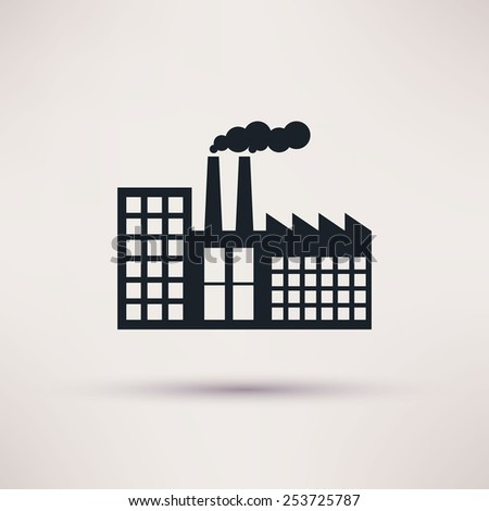 industrial factory in a flat style icon vector - stock vector