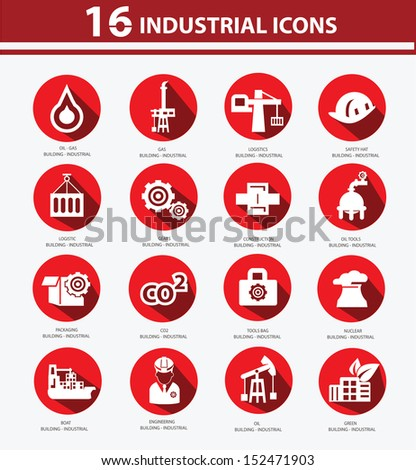 Industrial,Factory,plants and pollution icons,Red version - stock vector