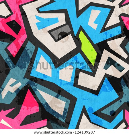 industrial graffiti seamless with grunge effect - stock vector