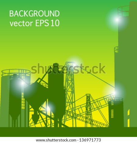 industrial green background plant mixing vector - stock vector