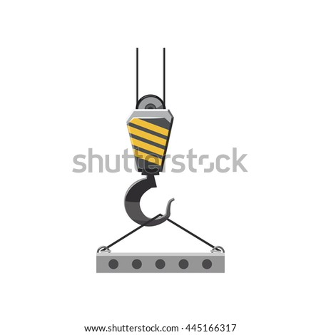 Industrial hook with reinforced concrete slab icon in cartoon style on a white background - stock vector