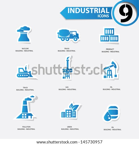 Industrial icons,Blue version,vector - stock vector
