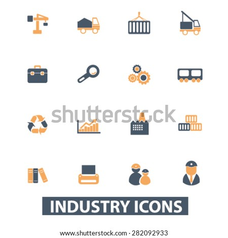 industrial icons, signs, illustrations set, vector - stock vector