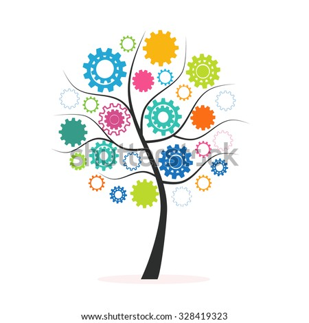 Industrial innovation concept colorful tree made from cogs and gears vector - stock vector