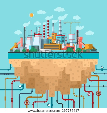Industrial landscape. Factory, plant, smoking pipes, buildings, constructions, utilities, communications. Ecology and nature pollution conceptual background. Flat design banner. Vector illustration - stock vector