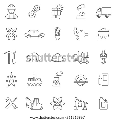 Industrial line icon set - stock vector