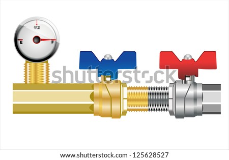 Industrial pipeline and Gas valve. Vector illustration. - stock vector