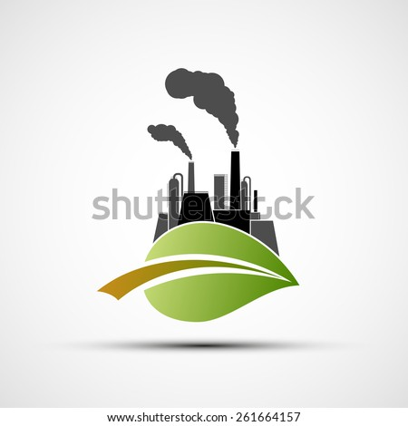 Industrial Plant and leaf. Vector image. - stock vector
