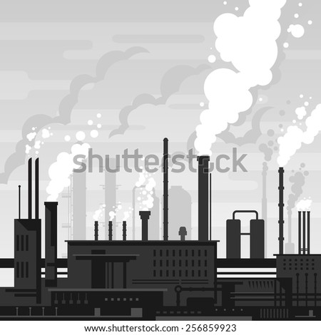 Industrial plant landscape flat style, factory buildings silhouette in gray colors, smoking pipes, environmental pollution, smog and fog in sky, ecology concept - stock vector