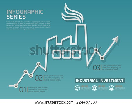 Industrial Rising Line Diagram Template Vector  - stock vector