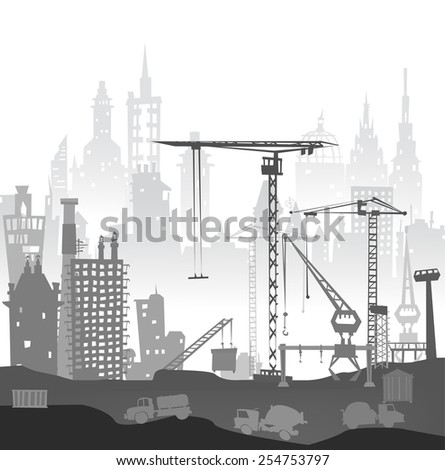 Industrial site view with cranes. Heavy industry background - stock vector
