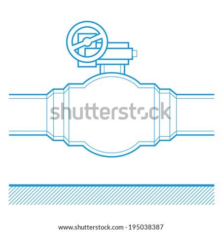 Industrial tap vector blueprint illustration - stock vector