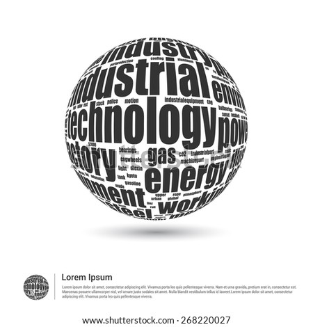 Industrial Technology concept word cloud. World globe with all electric and Mechanic tech keyword. Wordcloud vector illustration. - stock vector