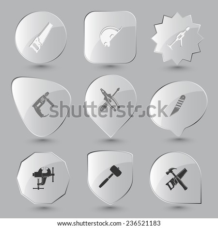 Industrial tools set. Vector glass buttons. - stock vector