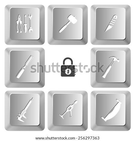 Industrial tools set. Vector set computer keys. - stock vector