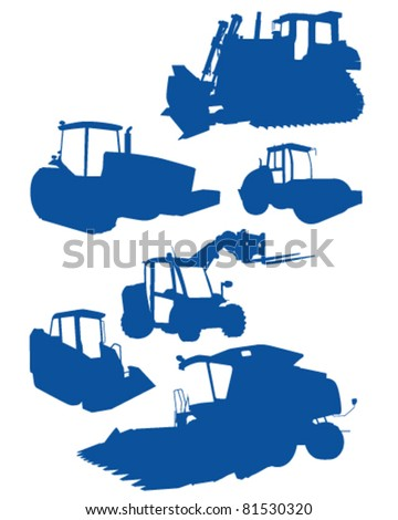Industrial vehicle silhouettes - stock vector