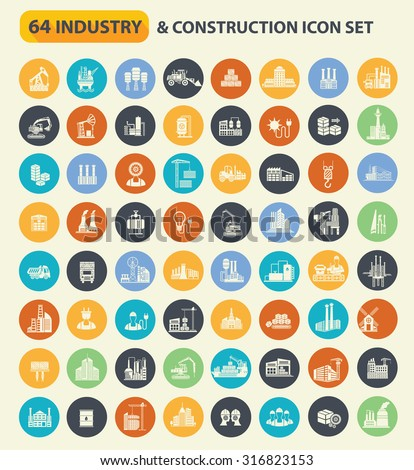 Industry and Construction icon set on colors buttons,clean vector - stock vector
