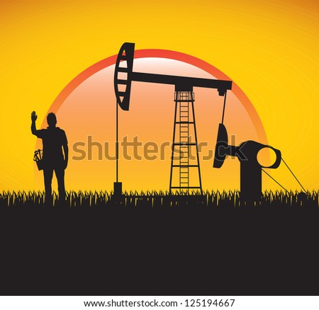 Industry and people over summer background vector illustration - stock vector