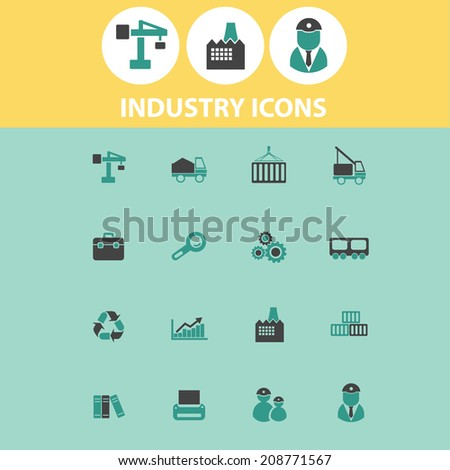 industry, business, factory black flat icons, signs, symbols set, vector - stock vector