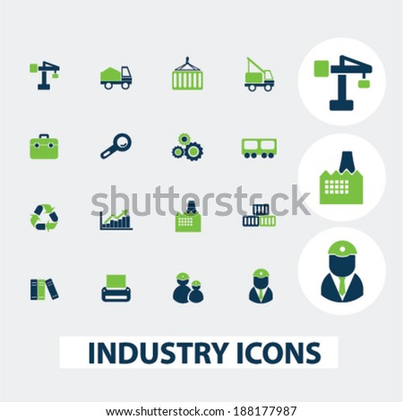 industry, business icons set, vector - stock vector