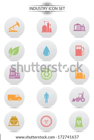 Industry buttons on white background,colorful version,vector - stock vector