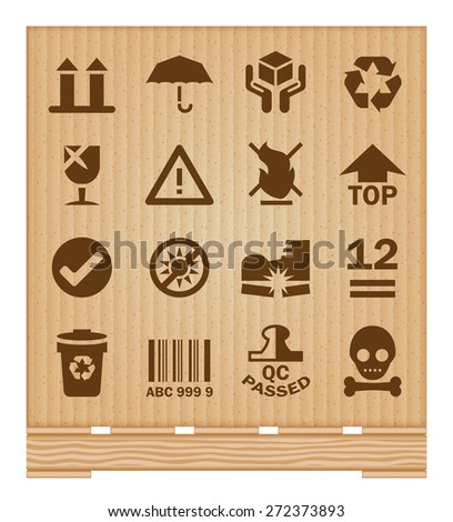 Industry cargo icons with cardboard background. - stock vector