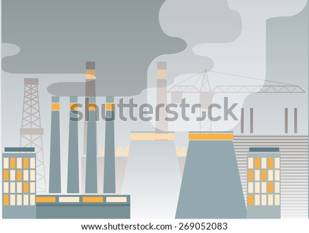 Industry concept:  plants with smokey sky. Vector illustration - stock vector