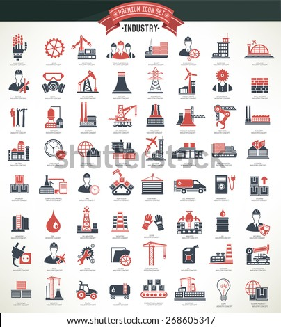 Industry,construction and engineer icon set,red version,clean vector - stock vector