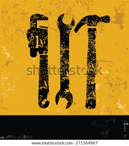 Industry design on yellow background,grunge vector - stock vector
