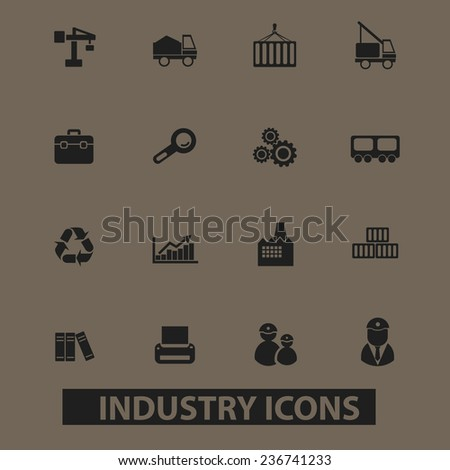 industry, factory, development icons, signs set, vector - stock vector