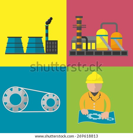 Industry Factory Flat Icon Set Vector - stock vector