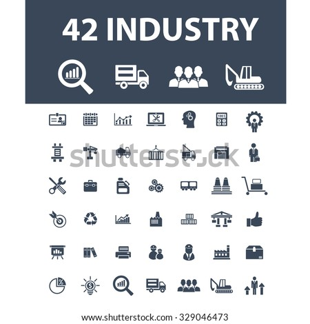 industry, factory, management, business icons - stock vector