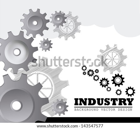 industry gears over gray background vector illustration - stock vector