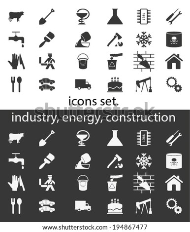 Industry. Icon set. Vector. - stock vector