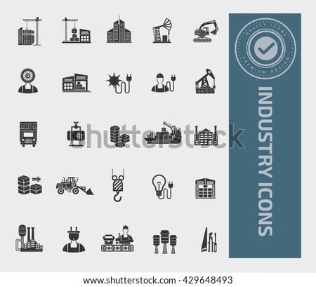 Industry icon set,vector - stock vector