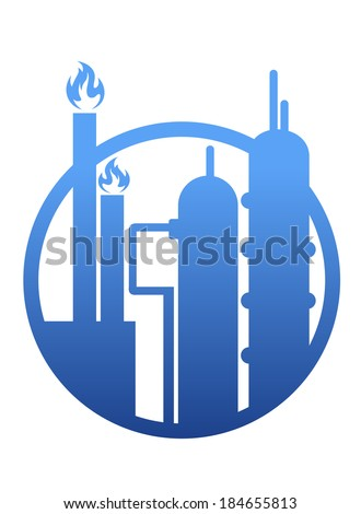 Industry icon showing a factory or petrochemical refinery plant logo with chimneys belching smoke and flames and stylized storage tanks in a circular frame - stock vector