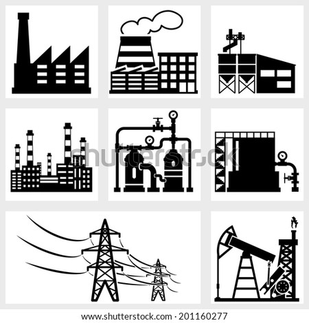 industry icons black vector energy factory power - stock vector