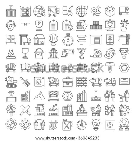 industry icons, construction icons, production icons,  manufacturing icons, thin line theme - stock vector