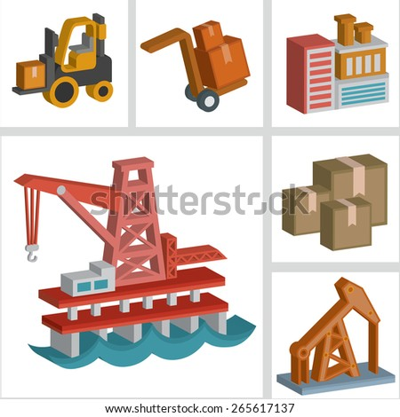 Industry icons design,three dimension,clean vector - stock vector